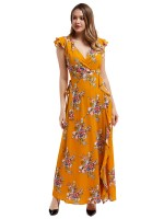 Gorgeously Yellow Folar Print V-neck Ruffled Maxi Dress