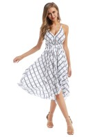 Classy White Maxi Dress Plaid Paint Backless For Sauntering