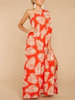 Fantastic Split Maxi Dress Sloping Shoulder Fashion Comfort