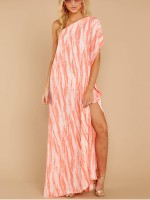 Slim Fit Pink Sloping Shoulder High Slit Maxi Dress Ladies