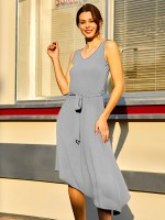 Comfort Gray Midi Dress Irregular Hem Sleeveless Fashion Comfort