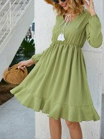Gorgeous Grass-Green Square Neckline Ruffle Trim Midi Dress Fast Shipping