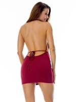 Alluring Halter Red Open Back Bodycon Dress Mini Length