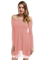 Flirting Pink Irregular Hem Off-Shoulder Mini Dress Adult