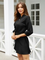Leisure Black Drawstring Waist Mini Dress 3/4 Sleeve Female