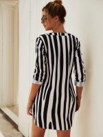 Ultra Fresh Mini Dress Stripe Print Long Sleeve Ladies