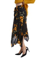 Enchanting Black Irregular Hem Flower Printed Skirt For Ladies