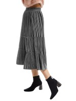 Relaxed Maxi Length Pleated Skirt High Rise Going Out Outfits