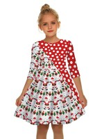 Comfortable Swing Hem Mom Kid Dress Patchwork Free Time