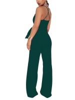 Dark Green Jumpsuit Cross Back Floor Length Solid Color For Ladies
