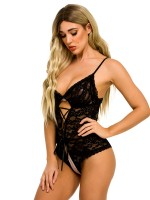 Nicely Black Plunge Collar Open Back Lace Teddy Fashion For Women