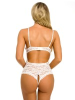 Adoring White Teddy Hollow Out Adjustable Strap For Boudoir