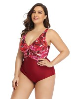 Striking Red Queen Size Swimsuit Hollow Out Backless Chic Fashion