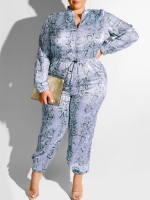 Popularity Blue Jumpsuit Long Sleeve High Waist Trendy Clothes