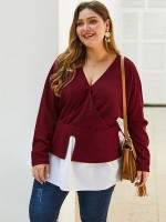Asymmetrical Red Colorblock Plus Size Top V Collar