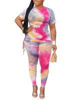Poolside Rose Red Side Strap Tie-Dye Plus Size Top Suit Comfort