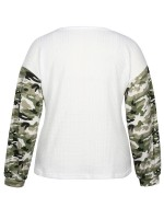 Glorious White Large Size V-neck Top Long Sleeves For Holiday