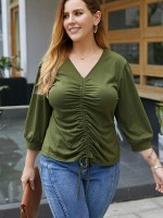 Luscious Curvy Army Green 3/4 Sleeve Drawstring Large Size Top