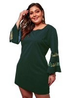 Army Green Sheer Mesh Plus Size Dress Polka Dots Svelte Style