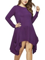 Exquisite Purple Irregular Hem Midi Dress Big Size Dress