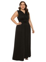 Black Solid Color Queen Size Dress V-Neck Comfortable Fit