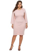 Conservative Pink Solid Color Big Size Dress Cape Sleeve For Party