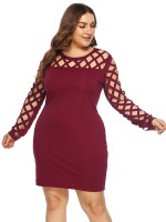 Elegant Jujube Red Bodycon Dress Big Size Full Sleeves Chic Trend