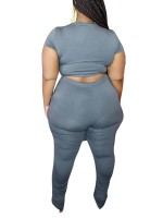 Sophisticated Gray Plus Size Women Set Solid Color Fabulous Fit