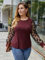 Contemporary Wine Red Patchwork Round Collar Big Size Shirt Autumn Essentials