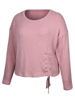 Brilliant Light Pink Full Sleeve Solid Color Ruches Shirt Nice Quality