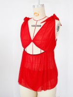 Adorable Red Deep-V Collar Babydoll With Panty Online Affordable