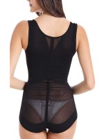 Black Big Size Mesh Insert Shapewear Bodysuit Thick Straps Lose Weight