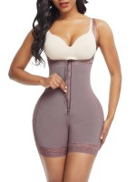 Coffee Color Full Body Shaper Underbust Zipper Straps Slimming Waist