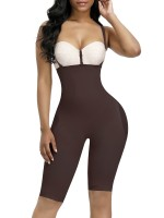 Cheap Dark Coffee Full Body Shaper Thigh Length Mesh Light Control