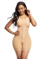 Skin Color Wide Straps Crotchless Bodysuit Hooks Slimming Waist