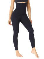 Black High Waist Solid Color Pants Shaper Thigh Trimming