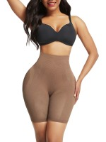 Chic Light Coffee Color Butt Enhancer Seamless Mesh Solid Color