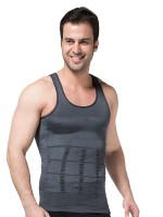 Grey Round Collar Tight Vest Body Shaper Pleated For Men