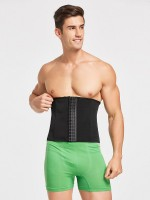Appealing Black Men Waist Cincher 6 Rows Hooks Mesh High-Compression