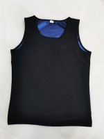 Blue Large Size Sweat Vest Shaper Round Collar Ultimate Stretch