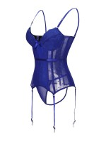 Compression Silhouette Blue Adjustable Straps Bustier And G-String