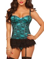 Sensational Light Green Lace Mesh Push Up Bustier Plus Size