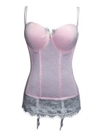 Romamce Pink Floral Print Lace Hem Bustier Thong Super Soft fabric