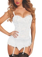 Glamorous White Lace Mesh Splicing Bustier Bowknot Little Thrills