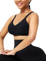 Black Seamless Shapewear Bra Removable Pads High Elasticity