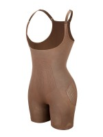 Light Brown Seamless Body Shaper Open Gusset Plus Size Slim Fit