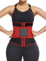 Red 10 Steel Bones Neoprene Waist Trainer With Sticker Custom Logo