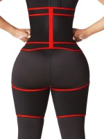 Red Thigh Slimmer Shapewear Colorblock High Rise For Fitness