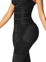 Black Tummy And Thigh Shaper Neoprene 3 Belts Midsection Compression