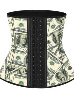 Waist Money Pattern Latex Waist Cincher With Hooks Figure Slimmer